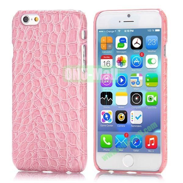 Crocodile Pattern Leather Coated Hard PC Case for iPhone 6 4.7 inch (Pink)