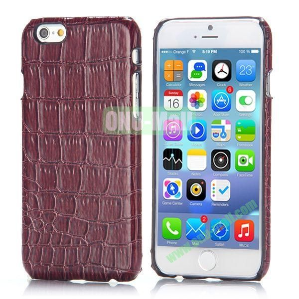 Crocodile Pattern Leather Coated Hard PC Case for iPhone 6 4.7 inch (Brown)