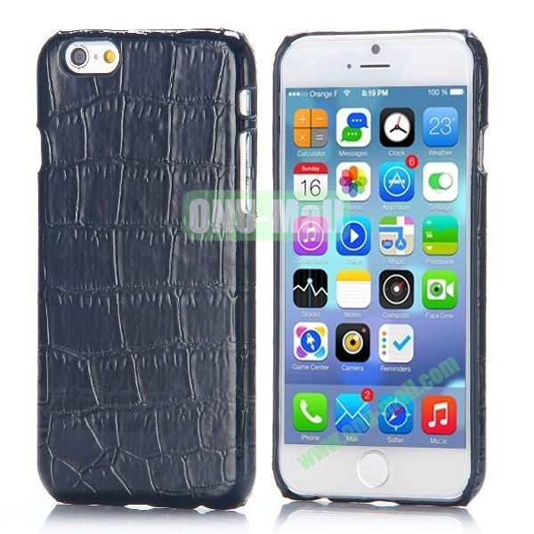 Crocodile Pattern Leather Coated Hard PC Case for iPhone 6 4.7 inch (Black)