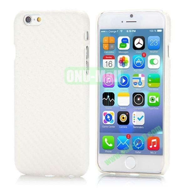 Carbon Fiber Pattern Leather Coated Hard PC Case for iPhone 6 4.7 inch (White)