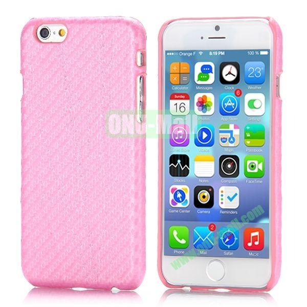 Carbon Fiber Pattern Leather Coated Hard PC Case for iPhone 6 4.7 inch (Pink)