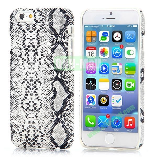 Snake Pattern Leather Coated Hard PC Case for iPhone 6 4.7 inch (White)