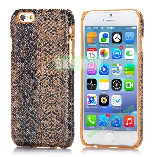 Snake Pattern Leather Coated Hard PC Case for iPhone 6 4.7 inch (Brown)