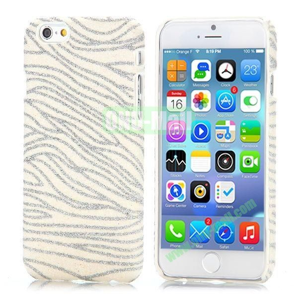 Zebra Stripes Pattern Glitter Powder Style Leather Coated Hard PC Case for iPhone 6 4.7 inch (White)