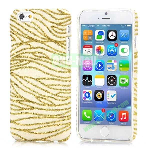 Zebra Stripes Pattern Glitter Powder Style Leather Coated Hard PC Case for iPhone 6 4.7 inch (Gold)
