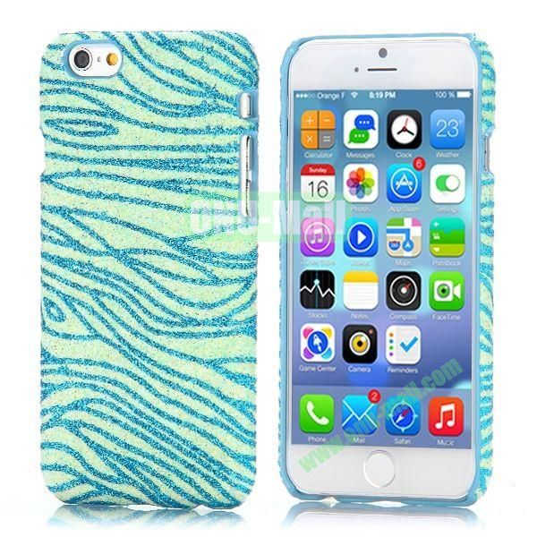 Zebra Stripes Pattern Glitter Powder Style Leather Coated Hard PC Case for iPhone 6 4.7 inch (Blue)