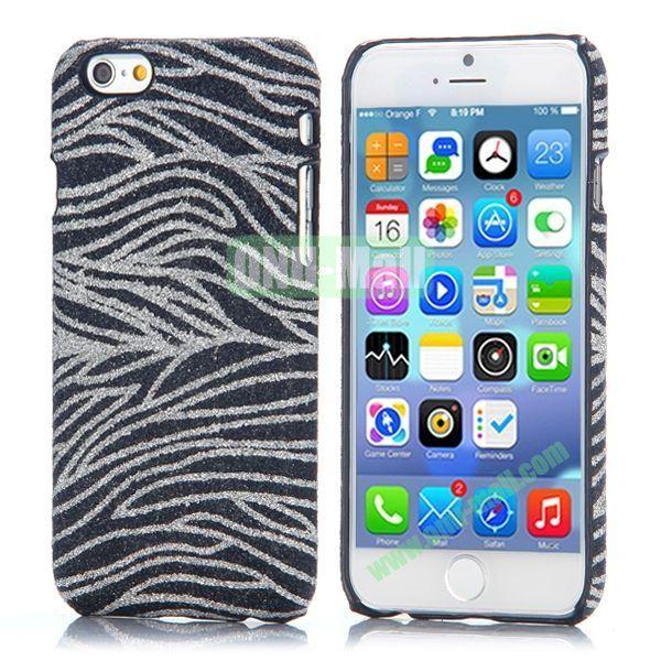 Zebra Stripes Pattern Glitter Powder Style Leather Coated Hard PC Case for iPhone 6 4.7 inch (Black)