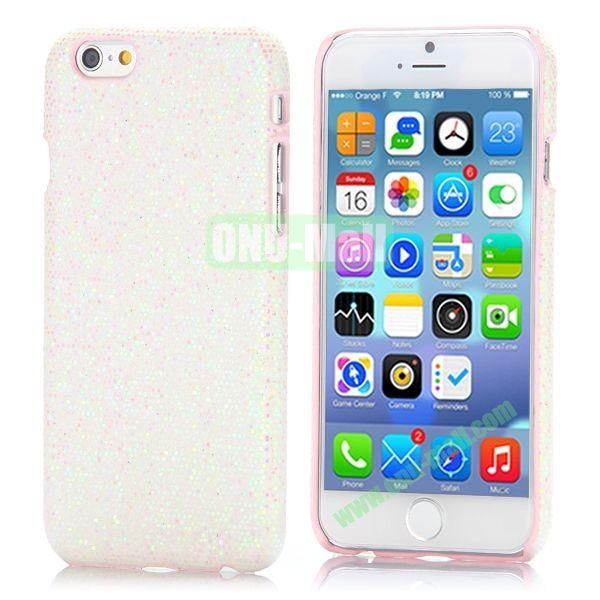 Glitter Powder Leather Coated Hard Case for iPhone 6 4.7 inch (White)