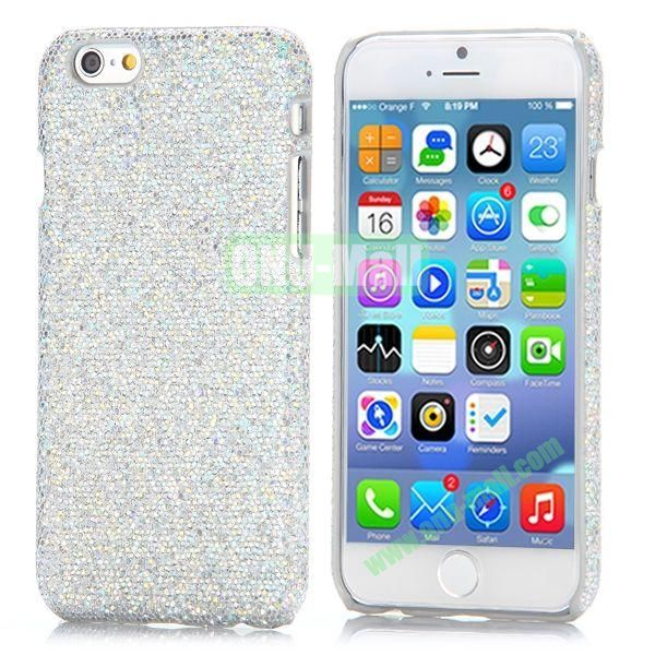 Glitter Powder Leather Coated Hard Case for iPhone 6 4.7 inch (Silver)