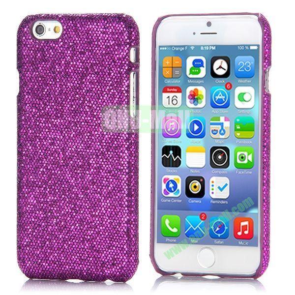 Glitter Powder Leather Coated Hard Case for iPhone 6 4.7 inch (Dark Purple)