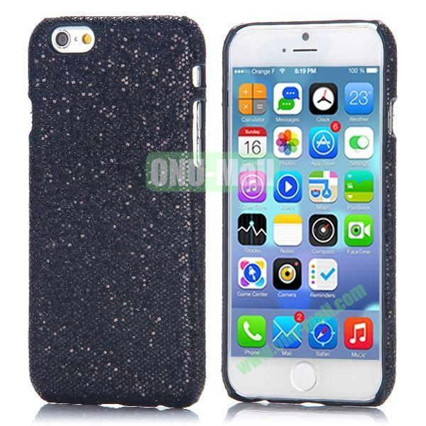 Glitter Powder Leather Coated Hard Case for iPhone 6 4.7 inch (Black)