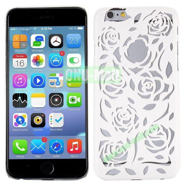 Stylish Hollow Out Rose Design Frosted PC Hard Case for iPhone 6 4.7 inch (White)