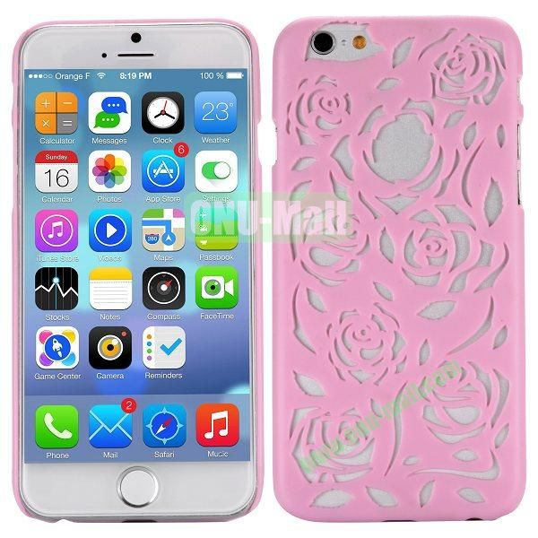Stylish Hollow Out Rose Design Frosted PC Hard Case for iPhone 6 4.7 inch (Pink)