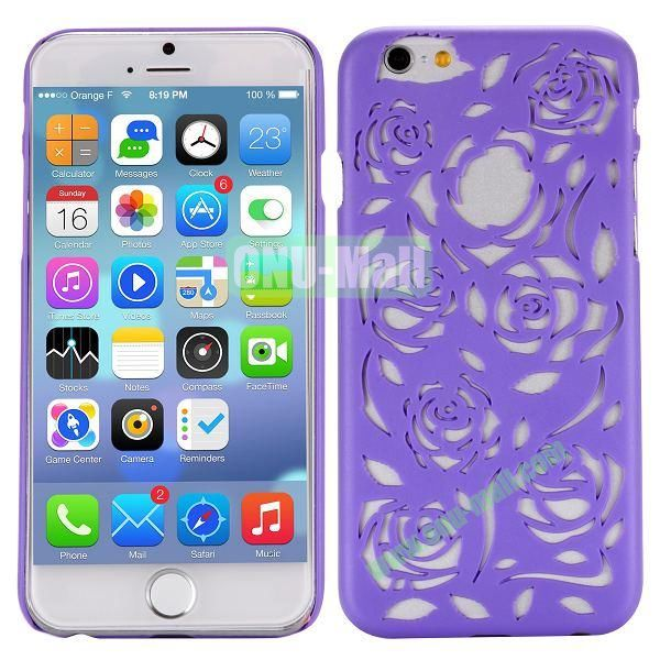 Stylish Hollow Out Rose Design Frosted PC Hard Case for iPhone 6 4.7 inch (Purple)