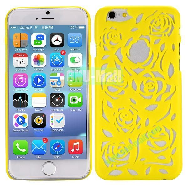 Stylish Hollow Out Rose Design Frosted PC Hard Case for iPhone 6 4.7 inch (Yellow)