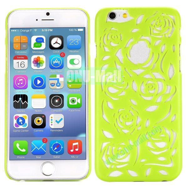 Stylish Hollow Out Rose Design Frosted PC Hard Case for iPhone 6 4.7 inch (Green)