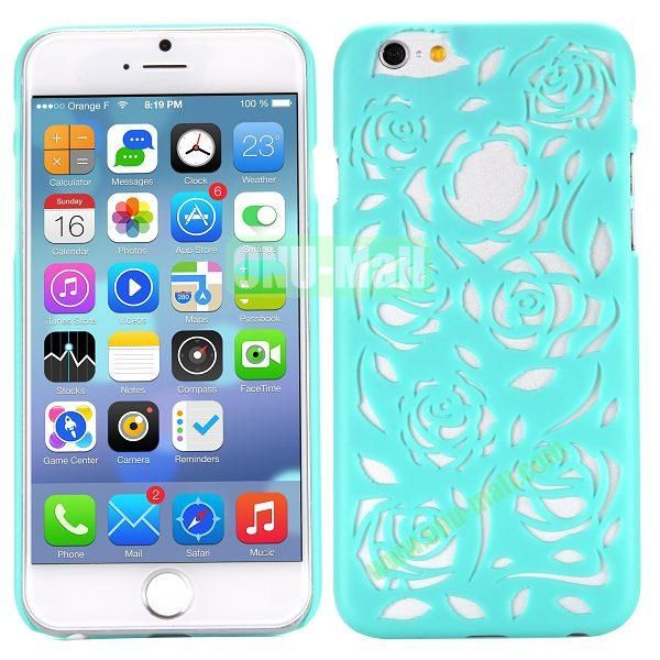 Stylish Hollow Out Rose Design Frosted PC Hard Case for iPhone 6 4.7 inch (Cyan)