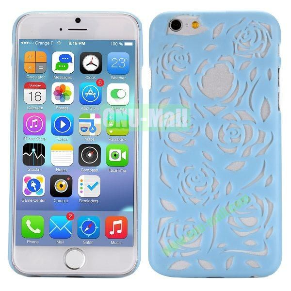 Stylish Hollow Out Rose Design Frosted PC Hard Case for iPhone 6 4.7 inch (Light Blue)