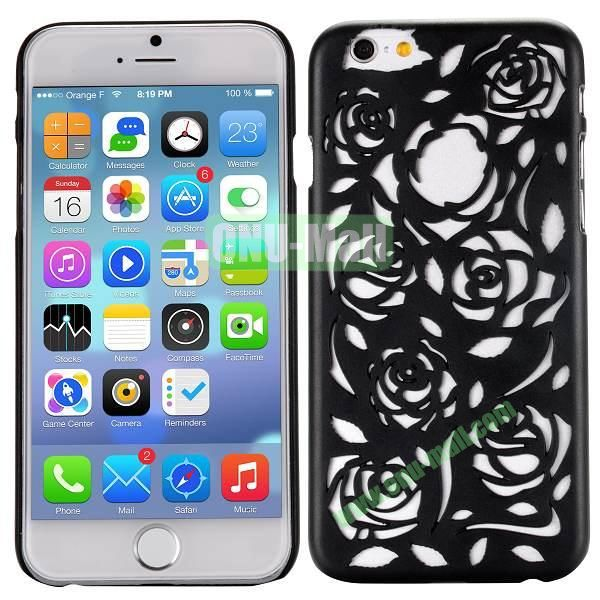 Stylish Hollow Out Rose Design Frosted PC Hard Case for iPhone 6 4.7 inch (Black)