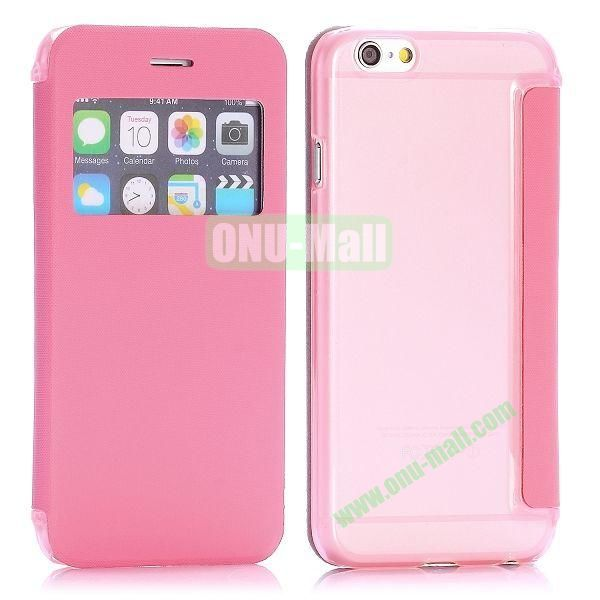 Caller ID Window Design Side Flip PU Leather+PC Hard Case for iPhone 6 4.7 inch (Pink)