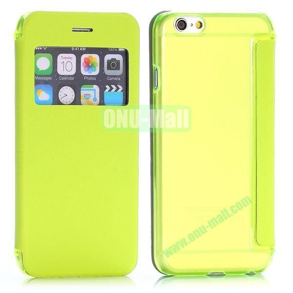 Caller ID Window Design Side Flip PU Leather+PC Hard Case for iPhone 6 4.7 inch (Green)