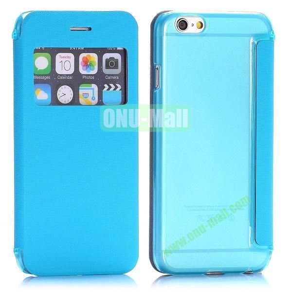 Caller ID Window Design Side Flip PU Leather+PC Hard Case for iPhone 6 4.7 inch (Blue)