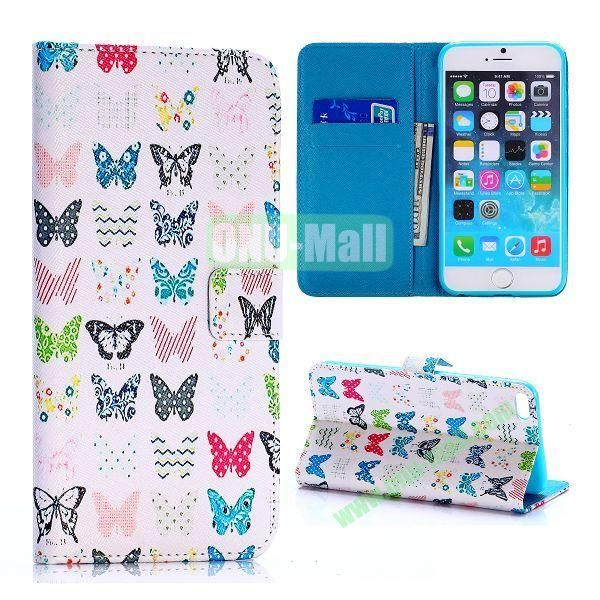 Colorized Butterflies Pattern Cross Texture Flip Stand TPU+PU Leather Case for iPhone 6 Plus 5.5 inch