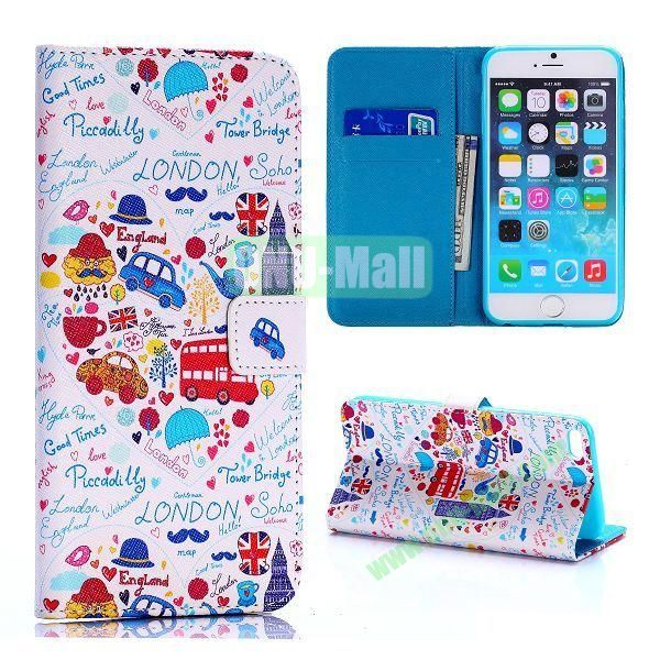 Cartoon London Features Pattern Cross Texture Flip Stand TPU+PU Leather Case for iPhone 6 Plus 5.5 inch