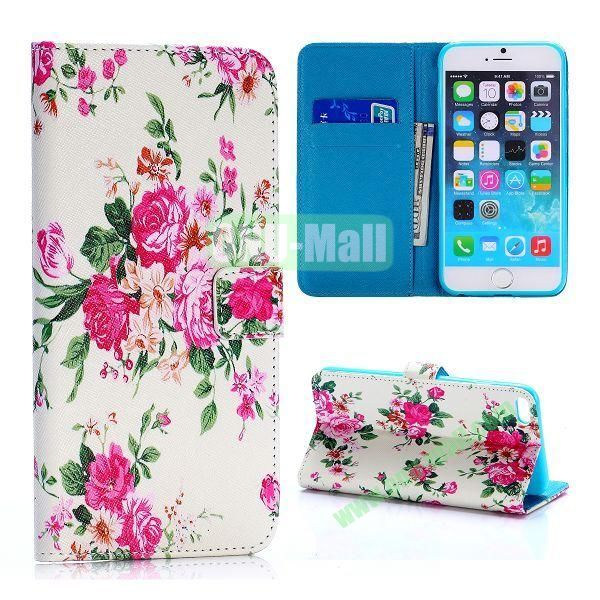Exquisite Peony Pattern Cross Texture Flip Stand TPU+PU Leather Case for iPhone 6 Plus 5.5 inch