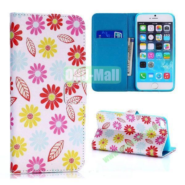 Colorized Flowers and Leaves Pattern Cross Texture Flip Stand TPU+PU Leather Case for iPhone 6 Plus 5.5 inch