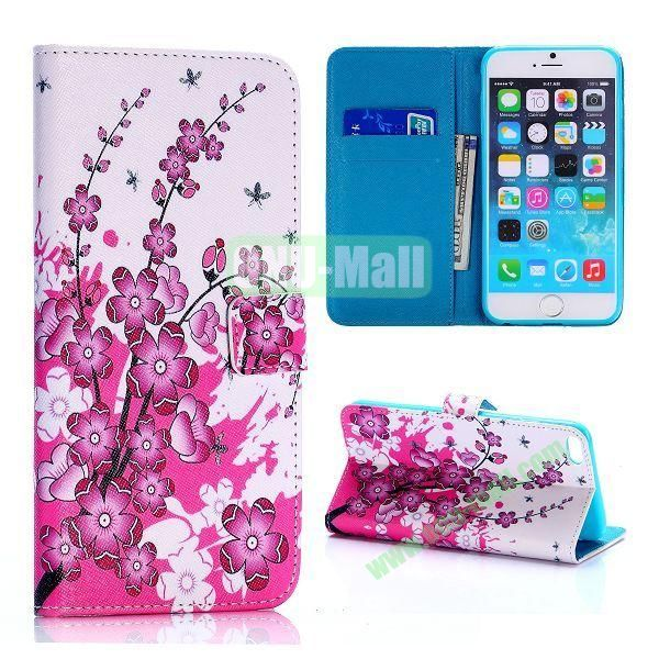 Pretty Plum Blossoms Pattern Cross Texture Flip Stand TPU+PU Leather Case for iPhone 6 Plus 5.5 inch