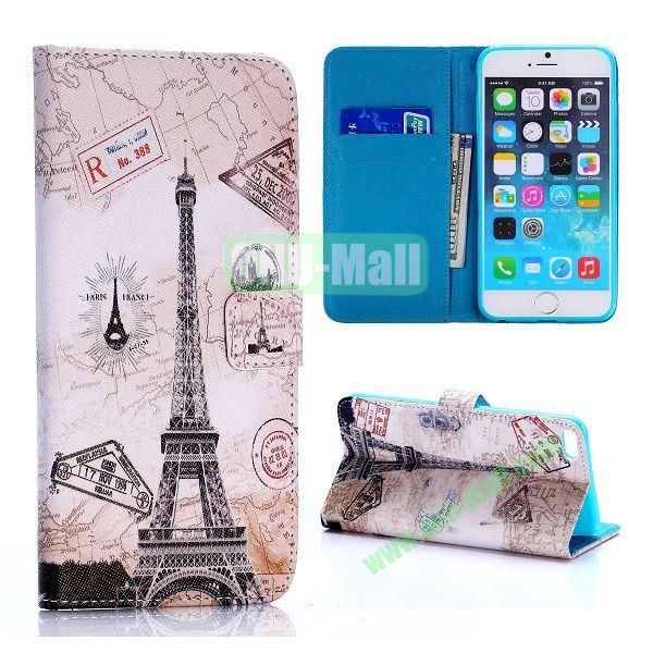 Eiffel Tower and Map Pattern Cross Texture Flip Stand TPU+PU Leather Case for iPhone 6 Plus 5.5 inch