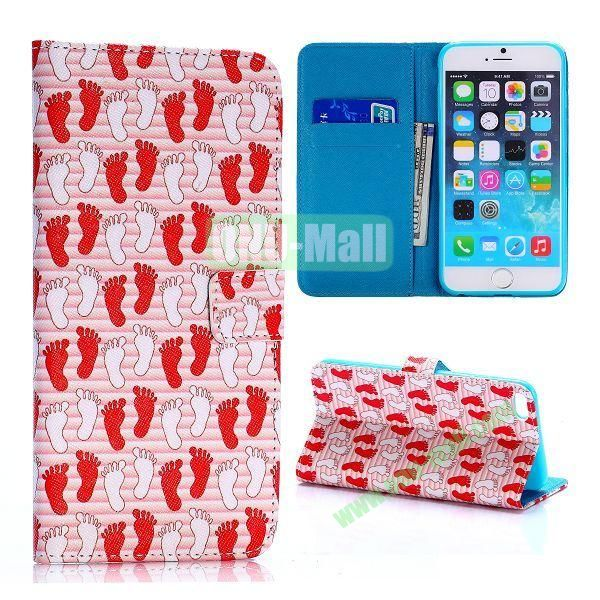 Footprint Pattern Cross Texture Flip Stand TPU+PU Leather Case for iPhone 6 Plus 5.5 inch