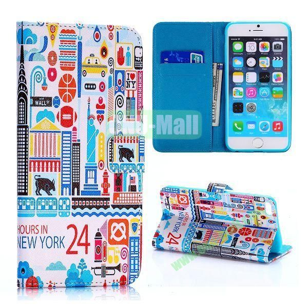 24 Hours in New York Pattern Cross Texture Flip Stand TPU+PU Leather Case for iPhone 6 Plus 5.5 inch