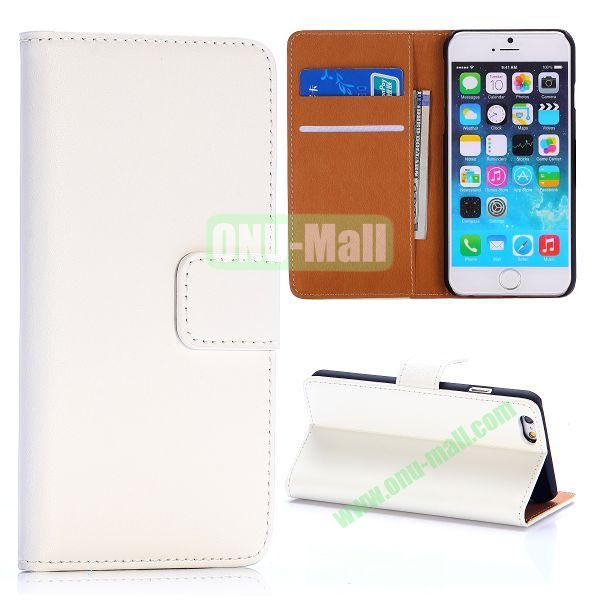 Hot Sale Flip Folio Stand PC+PU Leather Case for iPhone 6 4.7 inch with Card Slots (White)