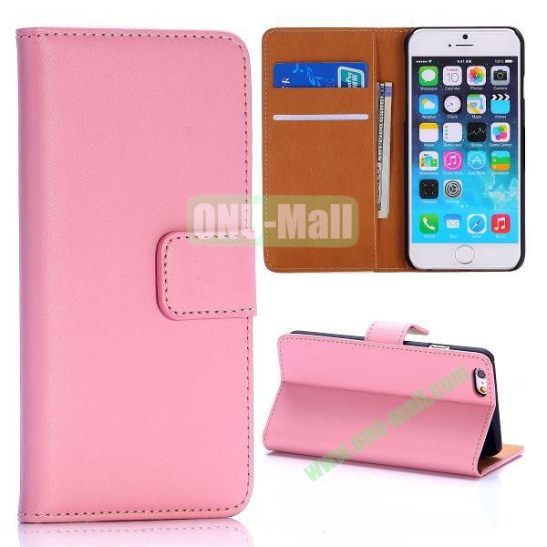 Hot Sale Flip Folio Stand PC+PU Leather Case for iPhone 6 4.7 inch with Card Slots (Pink)