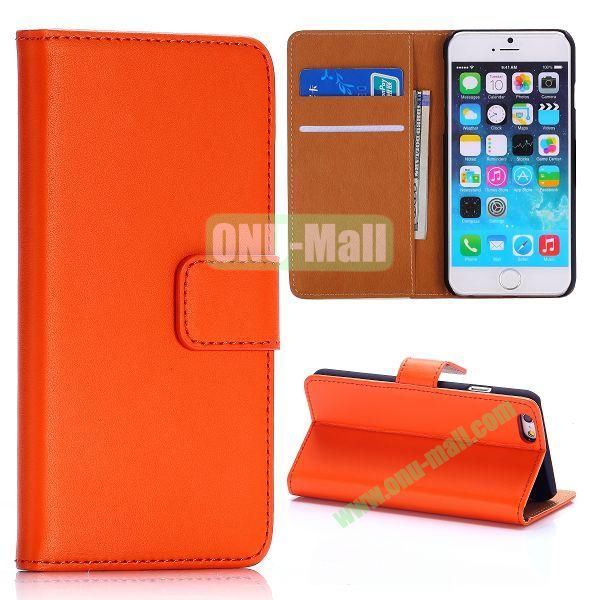 Hot Sale Flip Folio Stand PC+PU Leather Case for iPhone 6 4.7 inch with Card Slots (Orange)