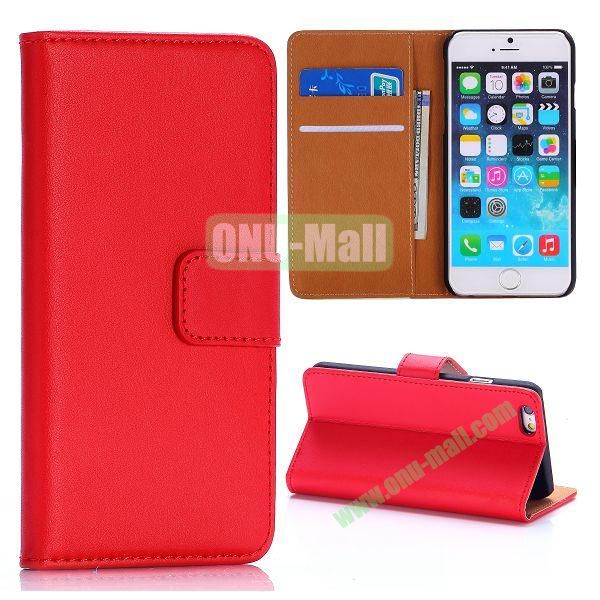 Hot Sale Flip Folio Stand PC+PU Leather Case for iPhone 6 4.7 inch with Card Slots (Red)