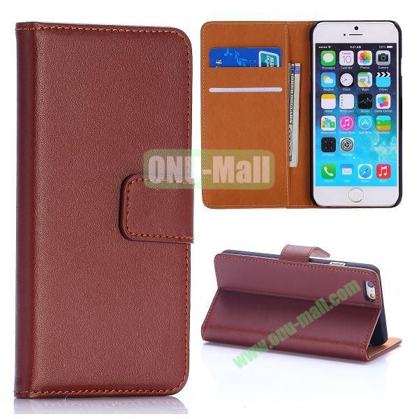 Hot Sale Flip Folio Stand PC+PU Leather Case for iPhone 6 4.7 inch with Card Slots (Brown)