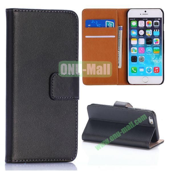 Hot Sale Flip Folio Stand PC+PU Leather Case for iPhone 6 4.7 inch with Card Slots (Black)