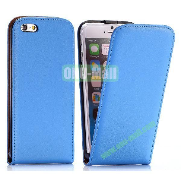 Simple Vertical Flip PC+PU Leather Case for iPhone 6 4.7 inch (Blue)