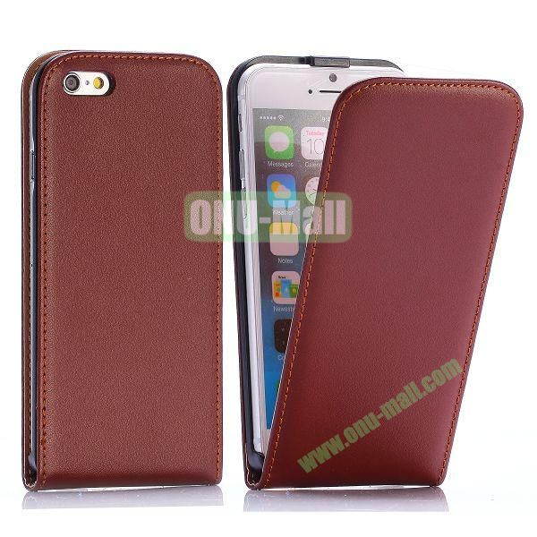 Simple Vertical Flip PC+PU Leather Case for iPhone 6 4.7 inch (Brown)