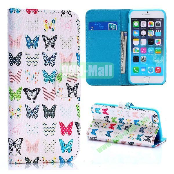 Cross Texture Unique Design Wallet Style Flip Leather Case for iPhone 6 4.7 inch (Colorized Butterflies Pattern)