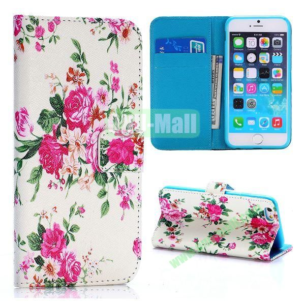 Cross Texture Unique Design Wallet Style Flip Leather Case for iPhone 6 4.7 inch (Exquisite Peony Pattern)