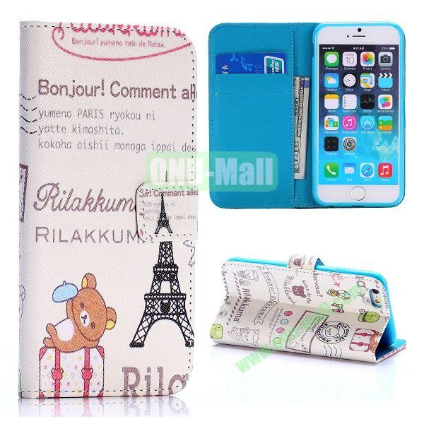 Cross Texture Unique Design Wallet Style Flip Leather Case for iPhone 6 4.7 inch (Cute Bear and Eiffel Tower)
