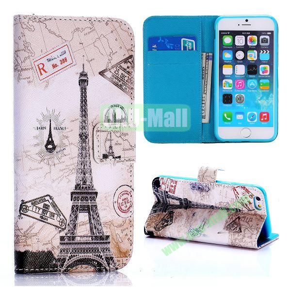 Cross Texture Unique Design Wallet Style Flip Leather Case for iPhone 6 4.7 inch (Eiffel Tower and Map Pattern)