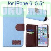 Jean Cloth Design Magnetic Flip Stand TPU+PU Leather Case for iPhone 6 Plus 5.5 inch (Light Blue)
