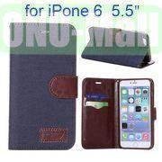 Jean Cloth Design Magnetic Flip Stand TPU+PU Leather Case for iPhone 6 Plus 5.5 inch (Dark Blue)