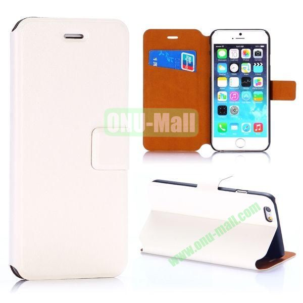 Crazy Horse Texture Magnetic Flip Stand PC+PU Leather Case for iPhone 6 4.7inch (White)