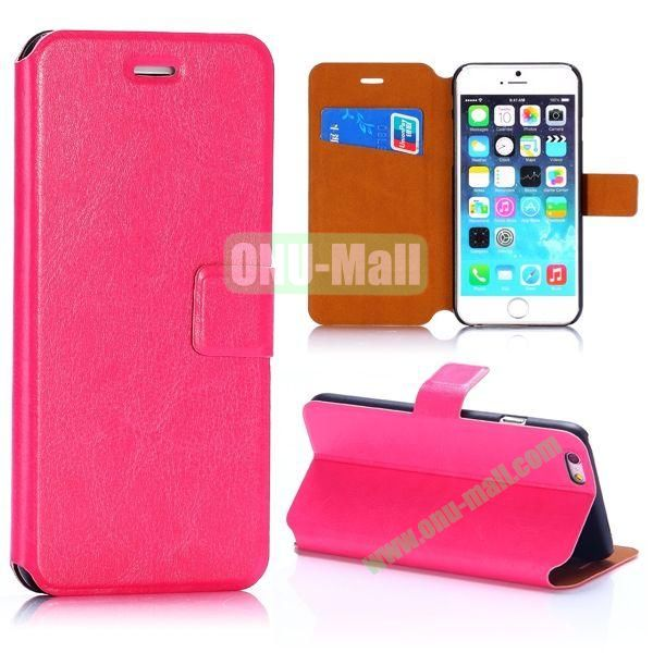 Crazy Horse Texture Magnetic Flip Stand PC+PU Leather Case for iPhone 6 4.7inch (Rose)
